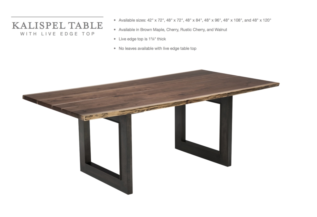 Kalispel Dining Table With Live Edge Amish Direct Furniture